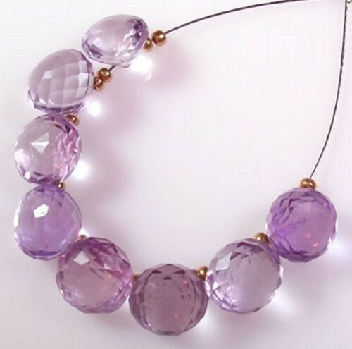 8 GENUINE ROSE De FRANCE PINK AMETHYST FACETED ONION BEADS 7.5-8 mm  P21