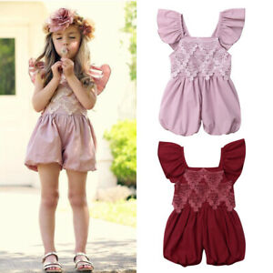 US-Summer-Toddler-Baby-Girls-Lace-Flower-Romper-Jumpsuit-Outfits-Sunsuit-Clothes