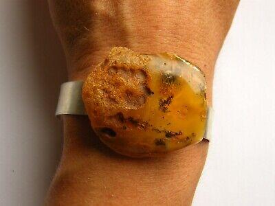 Armband Bernstein Männerschmuck Damenschmuck Orange Armreif Silber 925 N116