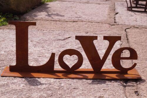 Edelrost Aufsteller LOVE mit Herz auf Bodenplatte 64 cm Schriftzug