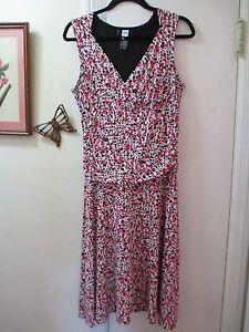 Studio-1940-White-w-Multi-color-Knit-Empire-Waist-Sleeveless-Dress-Size-M