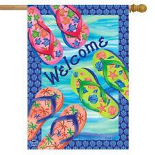 "Flip Flops Summer Burlap House Flag Nautical 28/"" x 40/"" Briarwood Lane"