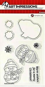 SC0738-Roly-Poli-Snowmen-Art-Impressions-Transparente-Sello-amp-Die-Set