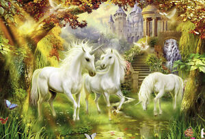 Unicorn Fantasy Magical 3D Full Wall Mural Photo