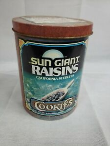 Vintage Sun Giant Raisins Cookies tin Cheinco Recipes