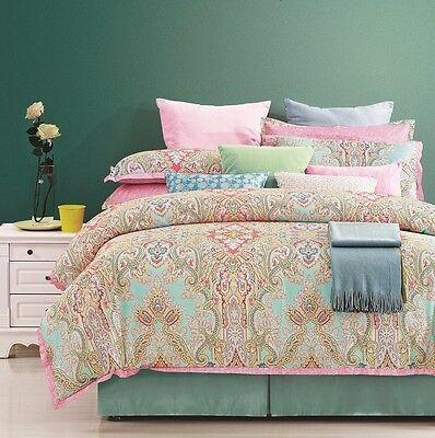 8 Piece EverRouge Lime Green Pink Blue Gray Cotton Duvet Set, King