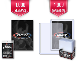 1000-BCW-Trading-Card-Hard-Plastic-Topload-Holders-1000-Soft-Poly-Penny-Sleeves