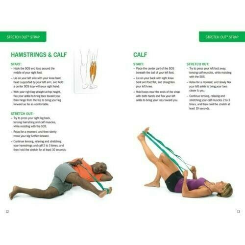 OPTP Stretch Out Strap with Instructional Stretching Exercise Poster Green