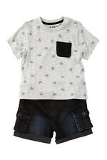 Hudson Jeans Skull Tee & Short Set (Baby Boys) 18M Gray NWT $69