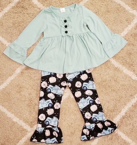 Blue Ruffle Top Bell Pant w// Trucks and Pumpkins Toddler Girl Fall Thanksgiving