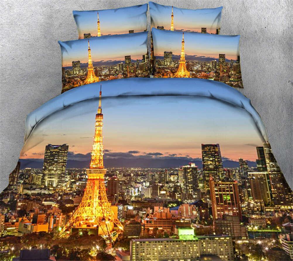 Golden Ironl Tower 3D Printing Duvet Quilt Doona Covers Pillow Case Bedding Sets