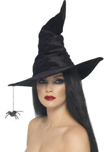 11db396c4dd Image is loading Black-Velvet-Witch-Hat-with-Spider