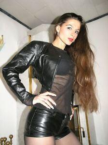 ECHTES-LEDER-Gothic-Bolero-Jacke-Nieten-S-Schwarz-Real-Leather