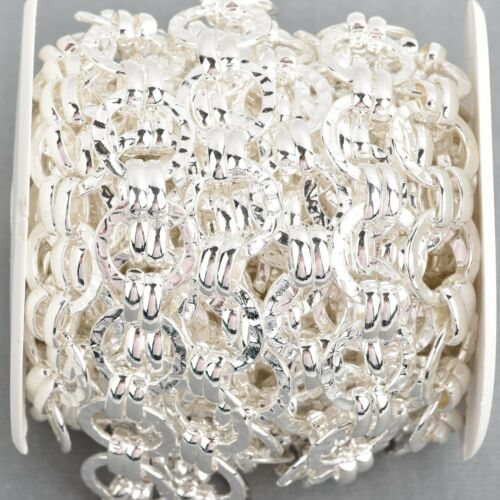 links are 17mm fch0887b 5 yards Bright Silver Round Hammered Link Chain