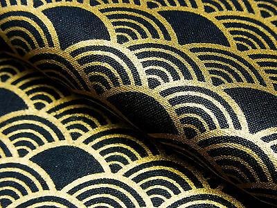 Japanese Fabric_Cotton_Black,Gold,Seigaiha_Half Yard,#m015