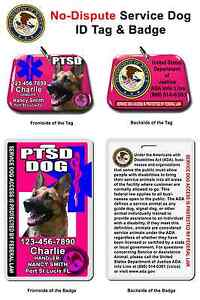 2b57f6779552 Service Dog PTSD ID Tag and Badge PHOTO ID card customize with your ...