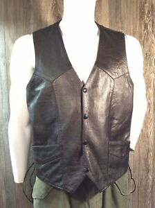 First Genuine Leather Motorcycle Vest Men's Size 44 Leather Laced Sides L7