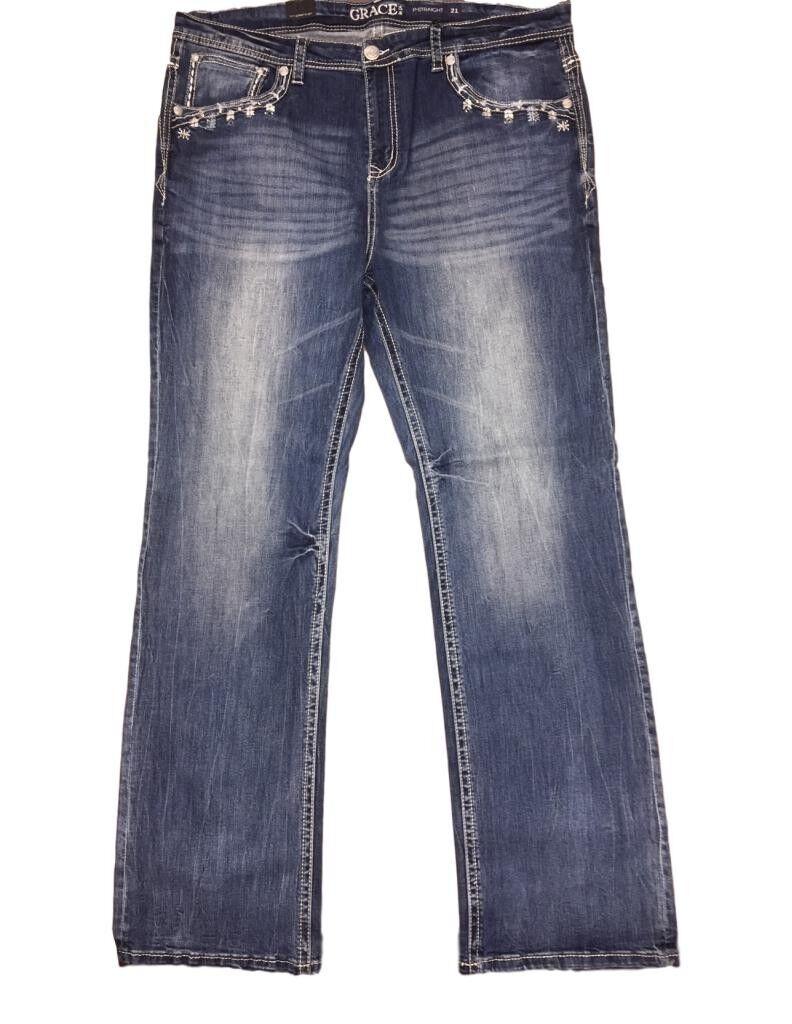 Grace in LA Denim Jeans Womens Snowflake Plus Light Wash PS51173