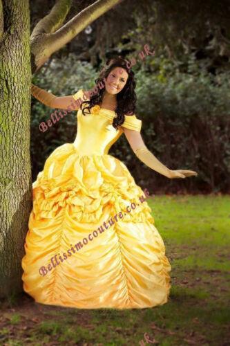 Disney Dress Beauty and Beast Belle Costume adult SZ 6,8,10,12,14,16 Rose detail