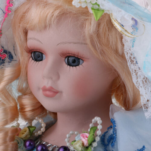 Elegant Victorian Porcelain Doll Splicing Doll 18inch Blue Dress Kids Gifts