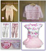 New BNWT baby girls pink tu tu outfit sleepsuit bibs cardigan trousers gift idea
