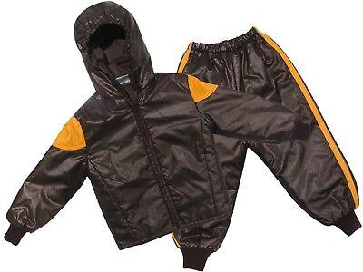 Childs Waterproof Jacket /& Trousers Rainsuit Kids Childrens Boys Brown 18M-2YRS