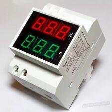 Digital LED Dual Display AC DIN RAIL 99.9A Voltmeter Amperemeter 110V 220V