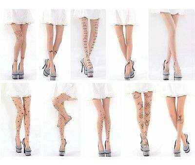 Sexy Thin Clear Tattoo Multi Pattern Printing Pantyhose Stocking Tights