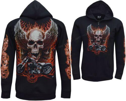 New Ghost Rider Skull Motorbike Motorcycle Glow in The Dark Hoodie Hoody Jacket