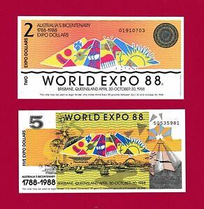RARE-PARTIALLY-ENGRAVED-ABNC-AUSTRALIA-1988-UNC-WORLD-EXPO-NOTES-2-00-amp-5-C00