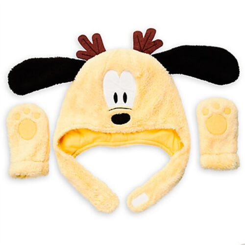 Disney Store Mickey Mouse Pluto Holiday Hat Mittens Set Baby Costume Accessory