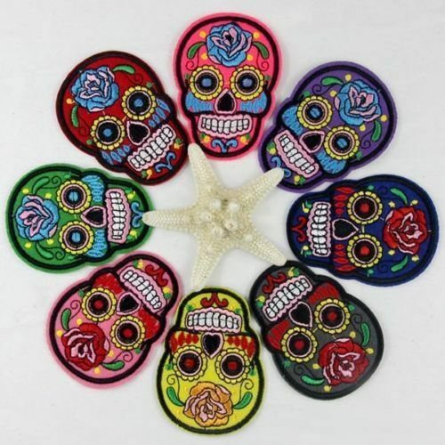 1//8PCS DIY Cloth Iron Sew On Patch Embroidery Badge Skull Clothes Motif Applique