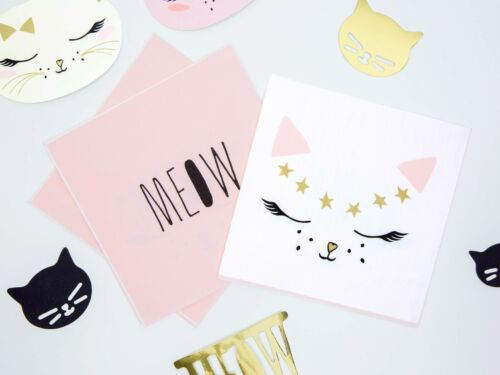 pack of 20 Large Cat Birthday Party Paper Napkins