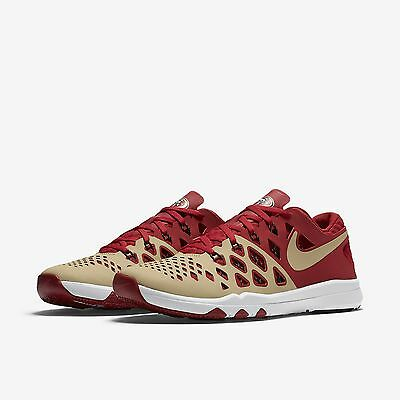 New San Francisco 49ers Nike Train Speed 4 AMP NFL Red Gold 3M Sneakers Sz 12
