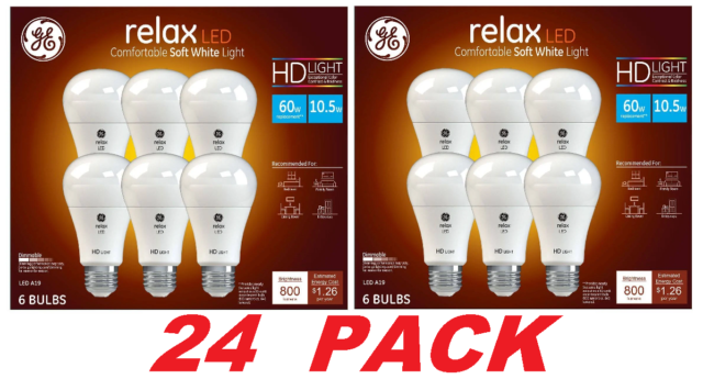GE Relax High Definition LED Light Bulb 10.5 watt 2700K Dimmable (24 BULBS)