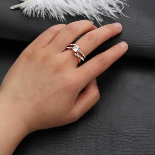 Two Tone 925 Sterling Silver Ring White Across Diamond Solid Round Crystal