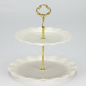 Image is loading NEW-Vintage-style-2-tier-cake-stand-party-  sc 1 st  eBay & NEW Vintage style 2 tier cake stand party wedding cream high tea ...