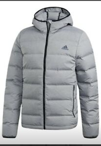 Details about Adidas Men Helionic Melange Winter Puffer Hoodie CZ1386 Large XL Coat Grey Black