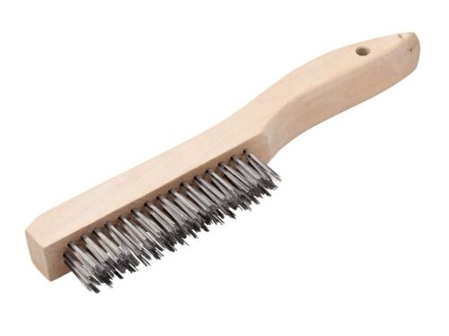 """10-1//4/"""" Wire Scratch Brush with Hand Held Wood Shoe Handle Carbon Steel Bristles"""