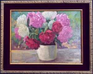 Original-Floral-Oil-034-Peonies-034-by-Renowned-Artist-Leona-Turner-Gold-Leaf-Frame