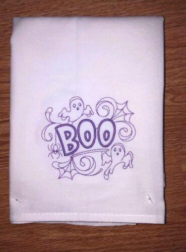 HALLOWEEN BOO MACHINE EMBROIDERED FLOUR SACK DISH TOWEL