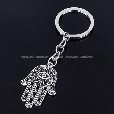 Hamsa Hand Of God Fatima Evil Eye Charm Pendant Jewish Key Ring Chain Jewelry