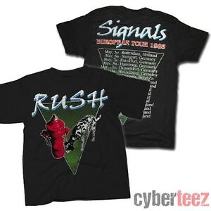 rush signals 1983 european tour with dates t shirt brand new authentic rock tee ebay. Black Bedroom Furniture Sets. Home Design Ideas