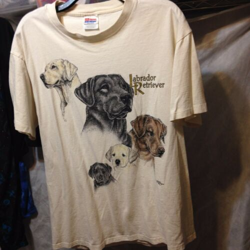 Men's Labrador Retriever Beige Short Sleeve T Shirt Sz 42 44 by Hanes Heavy Weight
