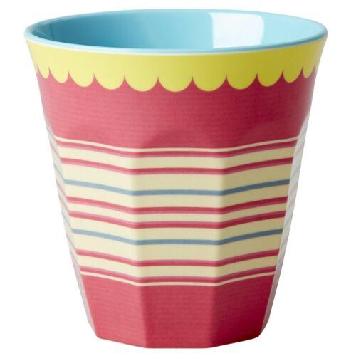 Riz mélamine medium cup-deux tons rayé-frais de port combiné!