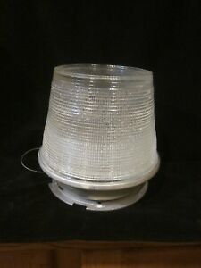 Vintage-Holophane-Half-Globe-Street-Light-Steam-Punk-Shade-Industrial-Bee-Hive