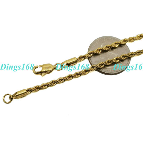 """Details about  /Men/&Women/'s Genuine 18K Gold Filled Hypo-allergenic 16/""""~ 32/"""" Rope Chain Necklace"""