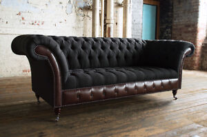 MODERN CHARCOAL WOOL & DARK BROWN LEATHER 3 SEATER CHESTERFIELD SOFA ...
