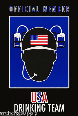 MEMBER USA DRINKING TEAM POSTER #24-042 LW10 P FREE SHIPPING COMICAL