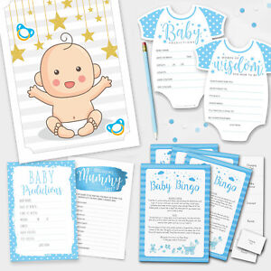 BLUE-BABY-SHOWER-GAMES-Boy-Baby-Bingo-Baby-Prediction-Cards-Pin-the-Dummy